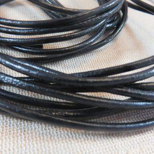 Cordon cuir noir 3mm rond – vendu par 5 mètres