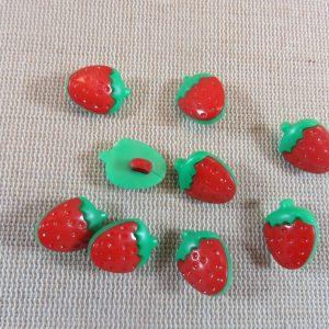 Boutons fraise rouge 15mm bouton de couture fruit – lot de 10