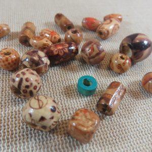 Perles bois diverse forme et couleur pour création bijoux – lot de 25