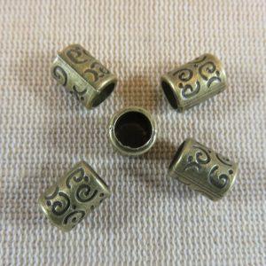 Perles de barbe colonne bronze gravé 10x7mm en métal – lot de 5