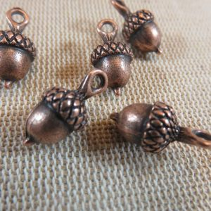 Breloques gland de chêne cuivre 18mm en métal – lot de 5