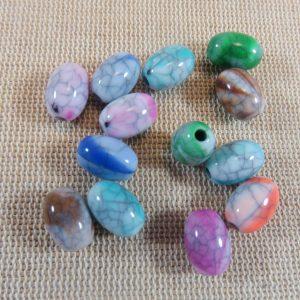 Perles ovale effet pierre fissuré 11mmx8mm en acrylique – lot de 10