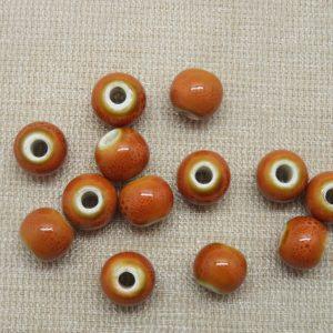 Perles céramique orange 8mm ronde – lot de 10