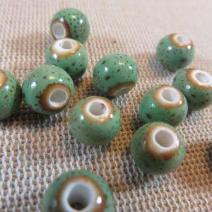 Perles céramique verte 8mm ronde – lot de 10