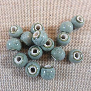 Perles céramique grise 8mm ronde – lot de 10