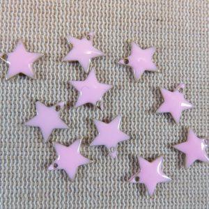 Breloques étoile rose émaillé sequins 12mmx11mm – lot de 10