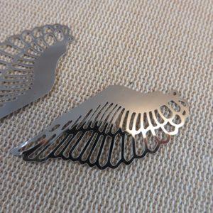 Pendentifs aile d'ange acier inoxydable argenté 42mm – lot de 2