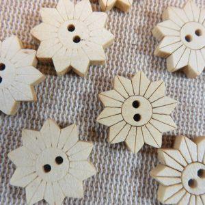 Boutons soleil en bois naturelle 19mm couture – lot de 10