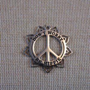 Pendentif paix Don't worry be Hippie acier inoxydable 30mm