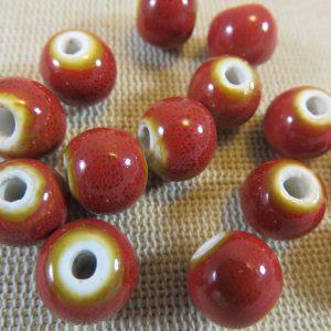 Perles céramique rouge 10mm ronde – lot de 10
