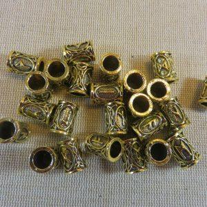 Perle rune viking or vieilli en métal 13x9mm – perle de barbe et cheveux dreadlocks