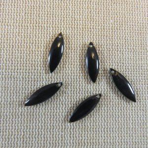 Breloques marquise noir sequin émaillé 16mm – lot de 5
