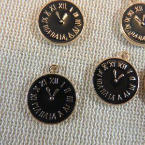 Breloques Horloge noir métal émaillé 17mm – lot de 5