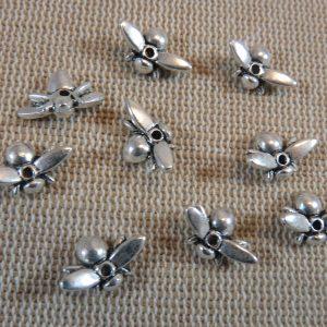 Perles abeille métal argenté 13x8mm – lot de 10