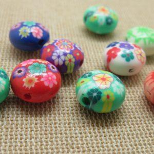 Perles abacus fleurs 12mm en pâte polymère – lot de 10