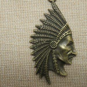 Pendentif chef indien bronze – Tête de chef tribu bijoux amérindien