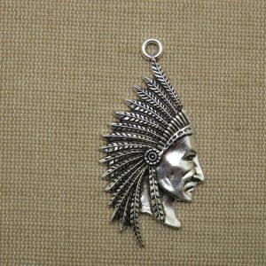 Pendentif chef indien argenté – Tête de chef tribu bijoux amérindien