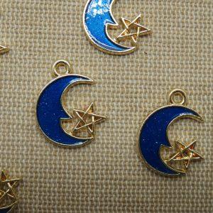 Breloques lune étoile pendentif métal émaillé 21mm – lot de 5