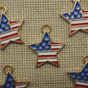 Breloques étoile drapeau américain métal émaillé 19mm – lot de 5