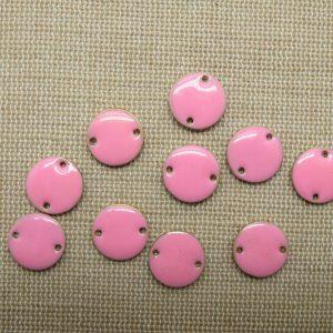 Breloques sequin rose rond émaillé 12mm – lot de 10