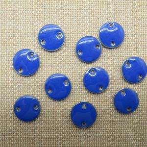 Breloques sequin bleu rond émaillé 12mm – lot de 10