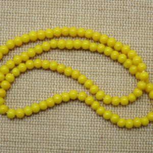 Perles en verre jaune 4mm ronde – lot de 30