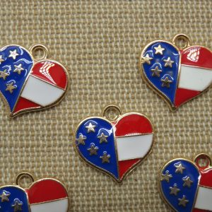 Breloques cœur états-unis métal émaillé 16mm – lot de 5
