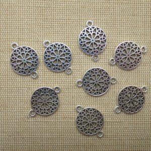 Pendentifs connecteur mandala fleur argenté 21mm en métal – lot de 8