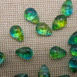 Perles goutte vert bleu larme en verre 9x6mm – lot de 10