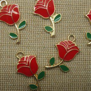 Breloques Rose fleur rouge métal émaillé 24mm – lot de 5