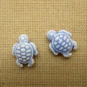 Perles céramique tortue bleu violet 19x15mm – lot de 2