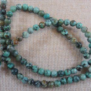 Perles Turquoise Africaine 4mm pierre de gemme – lot de 10