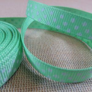 Ruban 10mm vert à pois blanc gros grain – vendu par 3 mètres