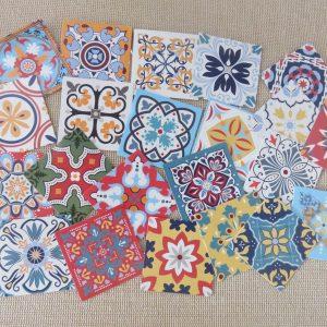Stickers mandala autocollant carré 35mm scrapbooking – 22pcs