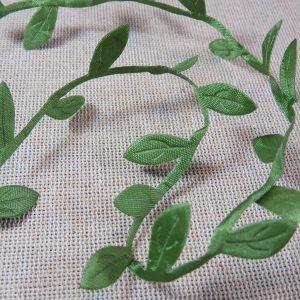 Ruban feuille verte en tissu 25mm création headband scrapbooking