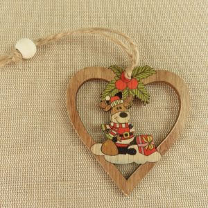 Suspensions décoration de noël en bois style vintage