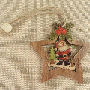 Suspensions décoration de noël étoile en bois style vintage