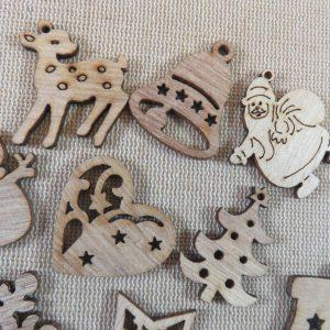 Décoration de noël en bois découpe style vintage rustique – Lot de 10
