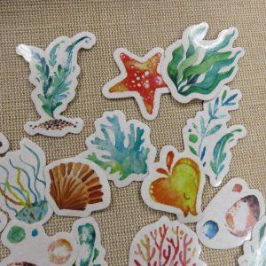 étiquettes scrapbooking océan autocollante, stickers pour décoration / 19pcs
