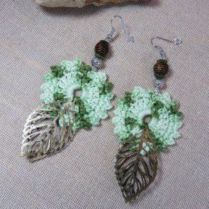 Boucles d'oreille boho fleur crocheté bijoux textile femme