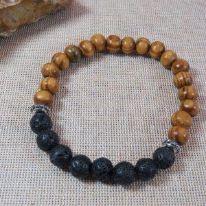 Bracelet de couple zen bijoux avec perles bois métal et lave