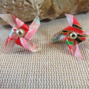 Puces d'oreille origami moulin à vent multicolore bijoux femme