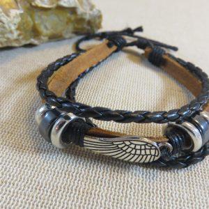 Bracelet aile d'ange cordon cuir tressé et perlé – bijoux Femme et Homme