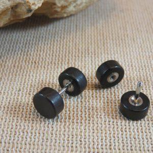 Puces en bois Noir 8mm double face Boucles d'oreille mixte – bijoux femme et homme