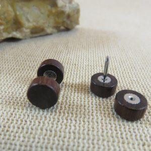 Puces en bois Marron 8mm double face Boucles d'oreille mixte – bijoux femme et homme