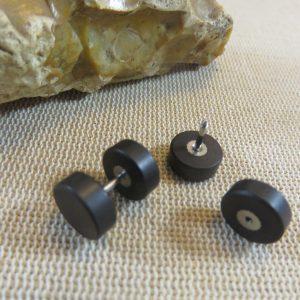 Puces en bois noir 10mm double face Boucles d'oreille mixte – bijoux femme et homme