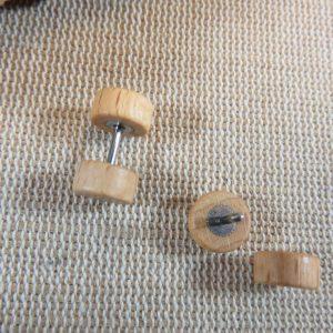 Puces en bois Marron clair 8mm double face Boucles d'oreille mixte – bijoux femme et homme