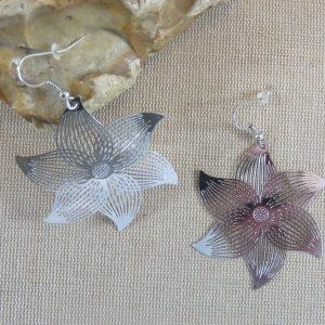 Boucles d'oreille fleuri métal inoxydable argenté – bijoux femme