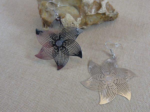 Boucles d'oreille fleuri métal inoxydable argenté - bijoux femme