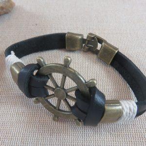 Bracelet homme cordon cuir barre de gouvernail nautique – bijoux homme